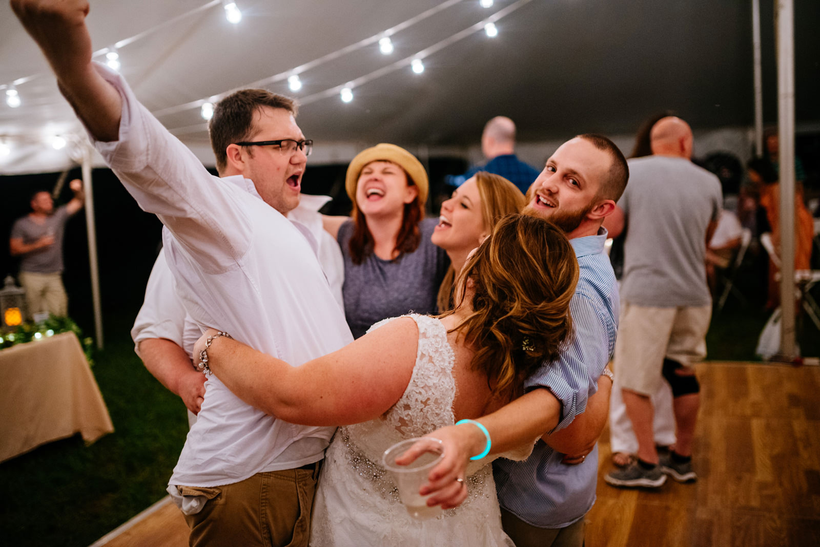 wedding reception guests partying