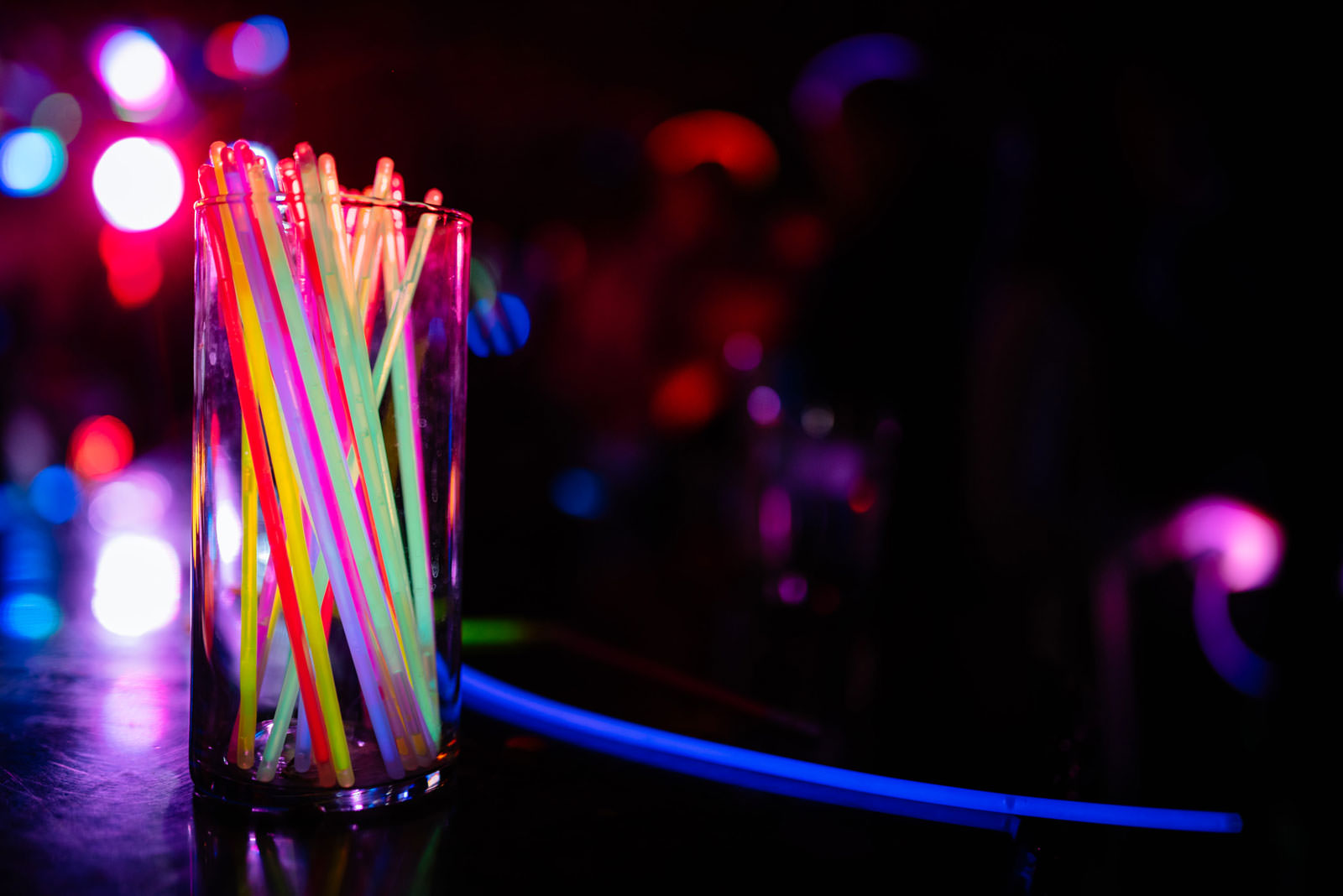 glowsticks wedding reception details