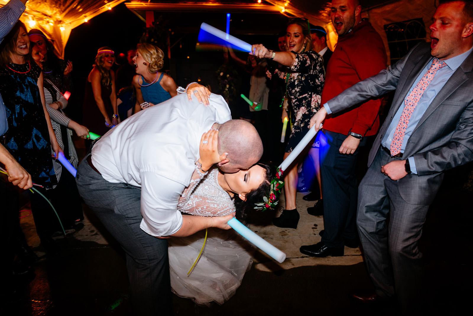 bride groom glowstick reception exit chestnut hotel