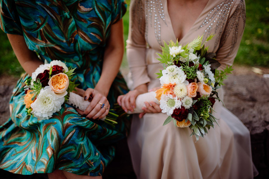 details wedding inspiration bouquets flowers vintage maid of honor dress and thrifted wedding gown