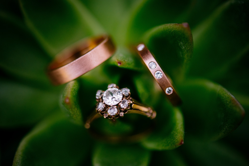 rose gold wedding band engagement ring set