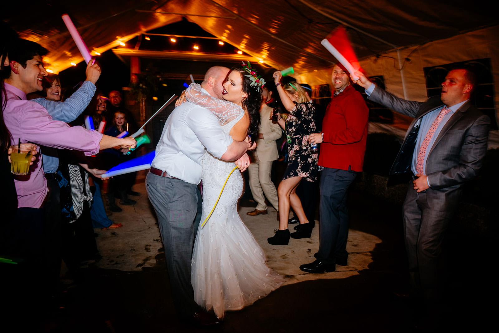 bride groom glowstick reception exit morgantown wv wedding