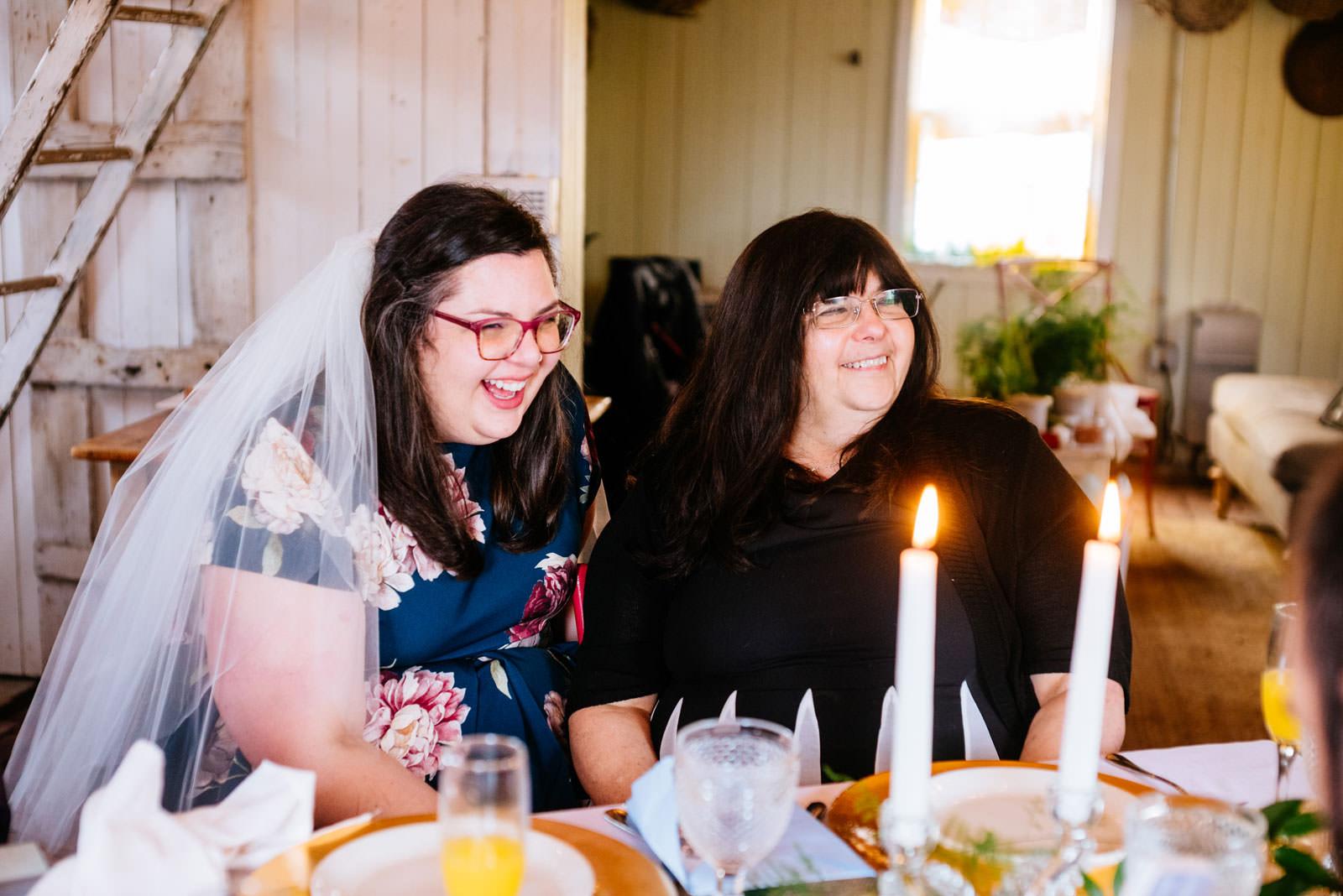happy bride and mom