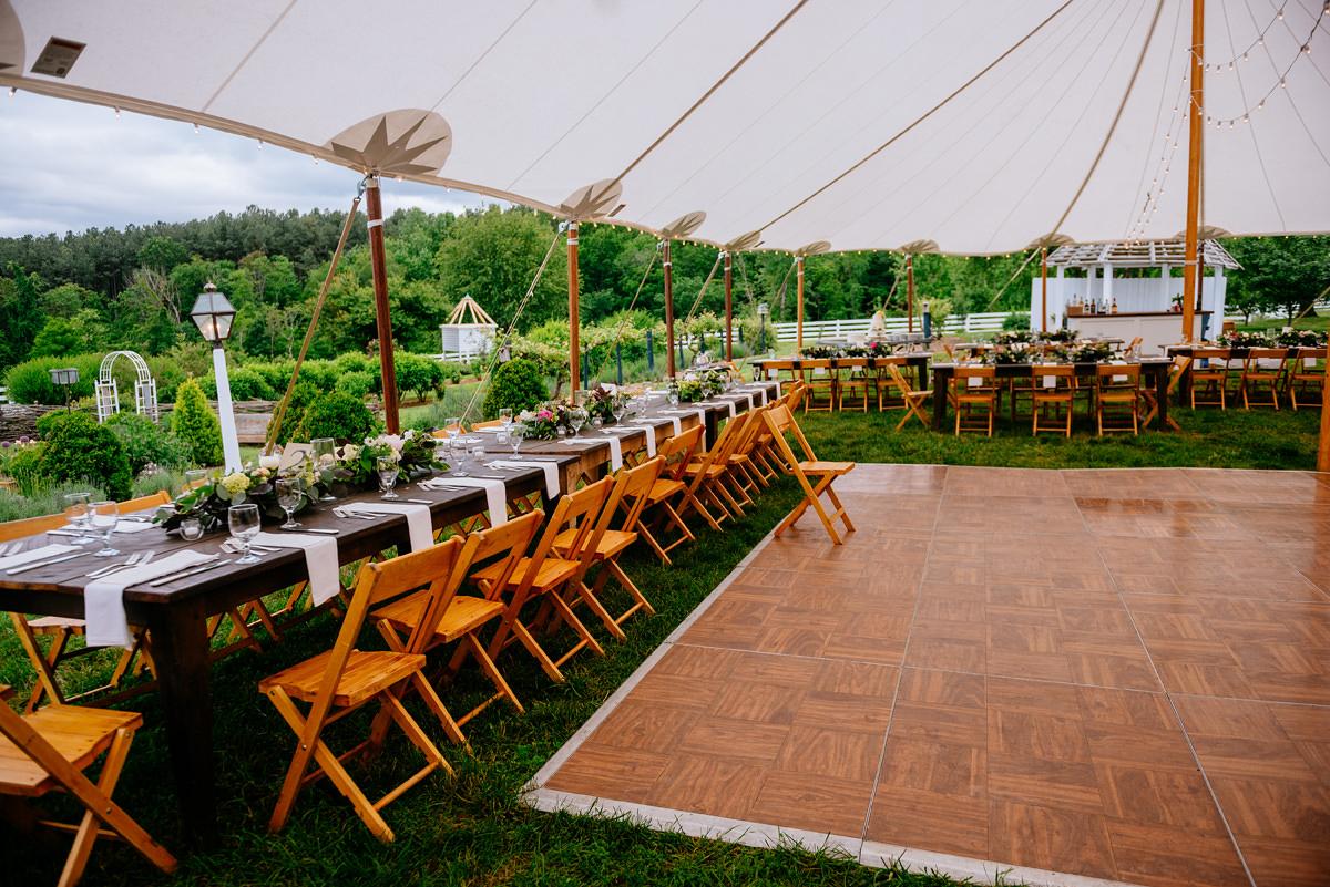 pharsalia virginia wedding skyline tent reception festive fare rentals