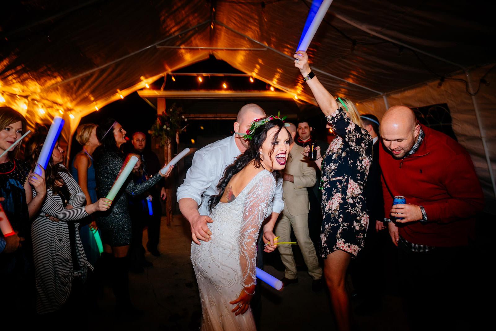 bride groom glowstick reception exit chestnut hotel rooftop