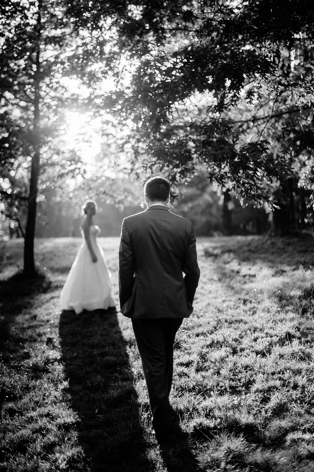 groom walking towards bride