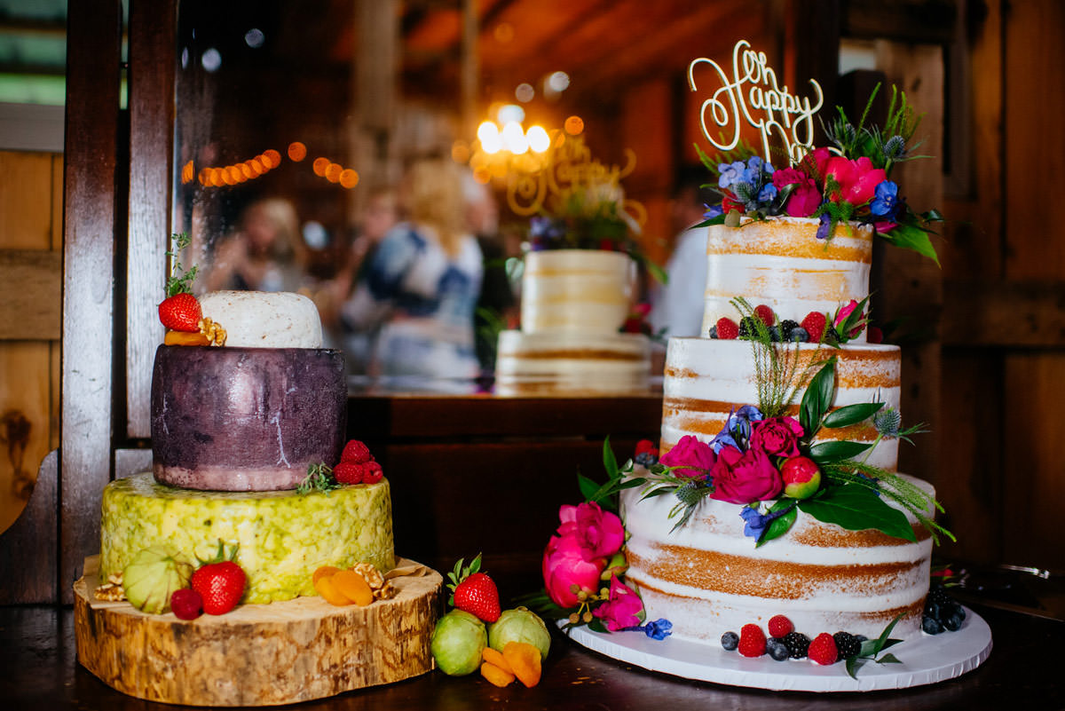 rustic acres wedding cake and cheese grooms cake