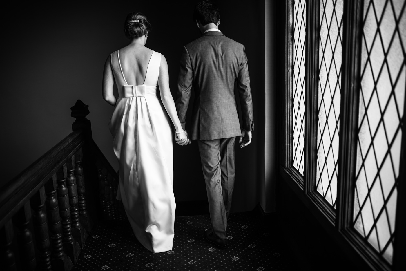 bride and groom walking pittsburgh