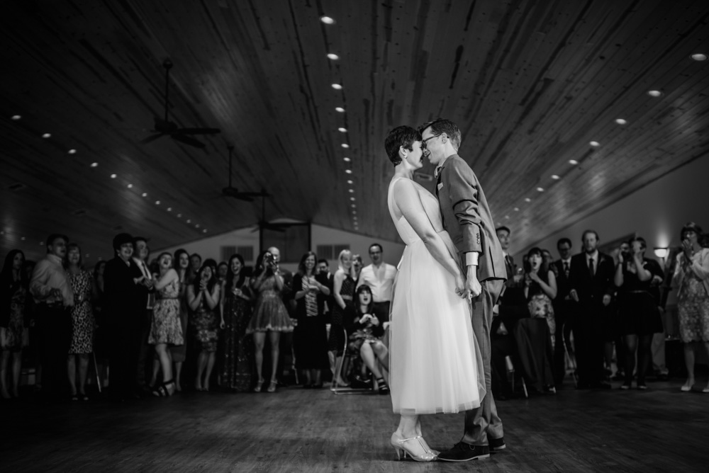 sweet bride and groom first dance at camp muffly