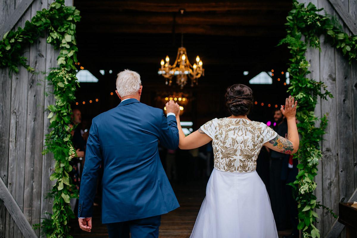 rustic acres wedding reception entrance