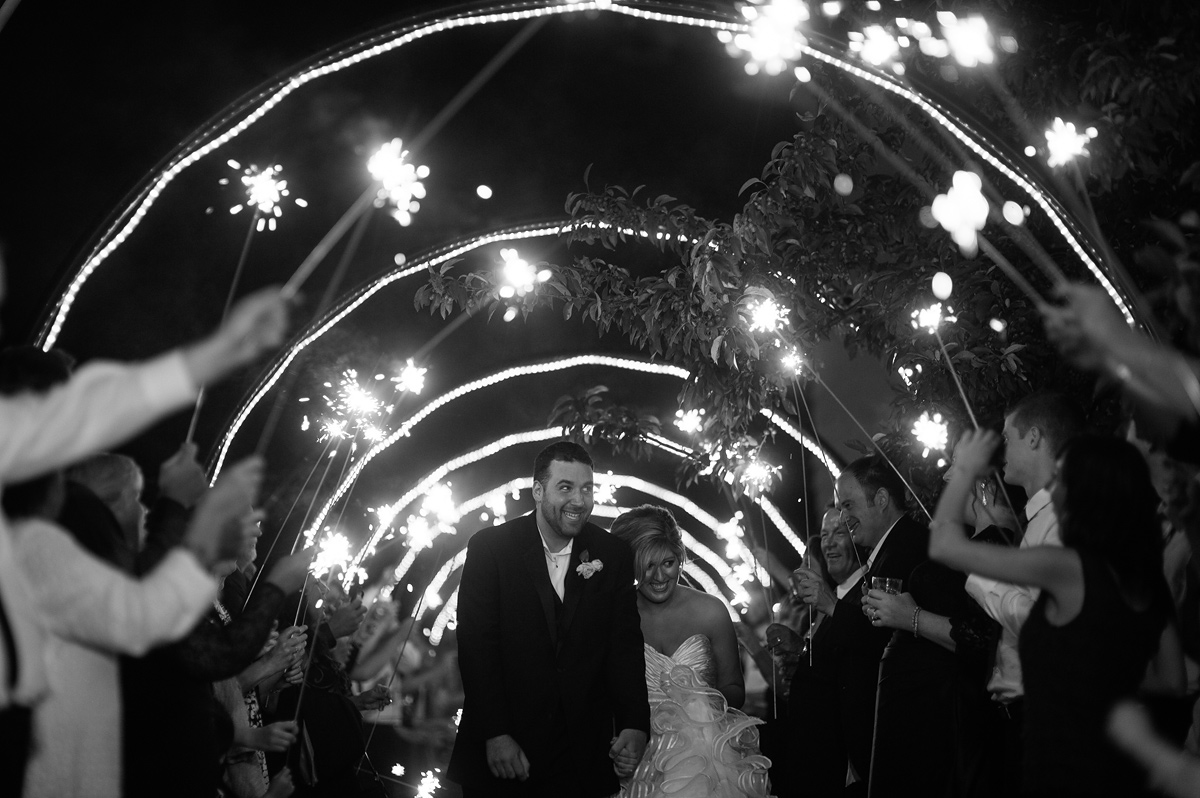 sparkler exit at wedding reception