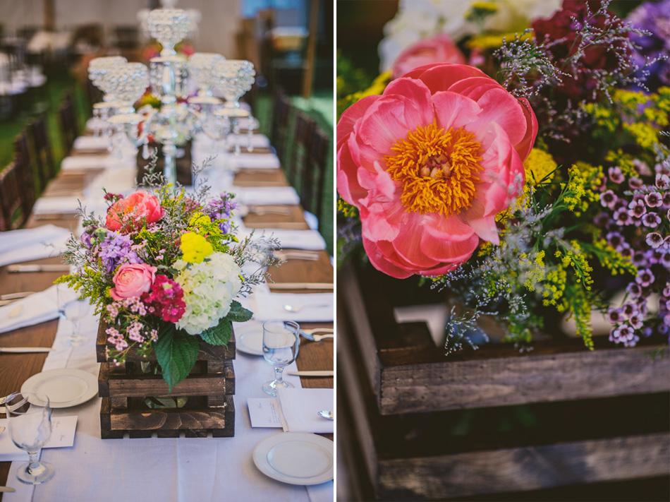 wedding details tablescape wood flower box
