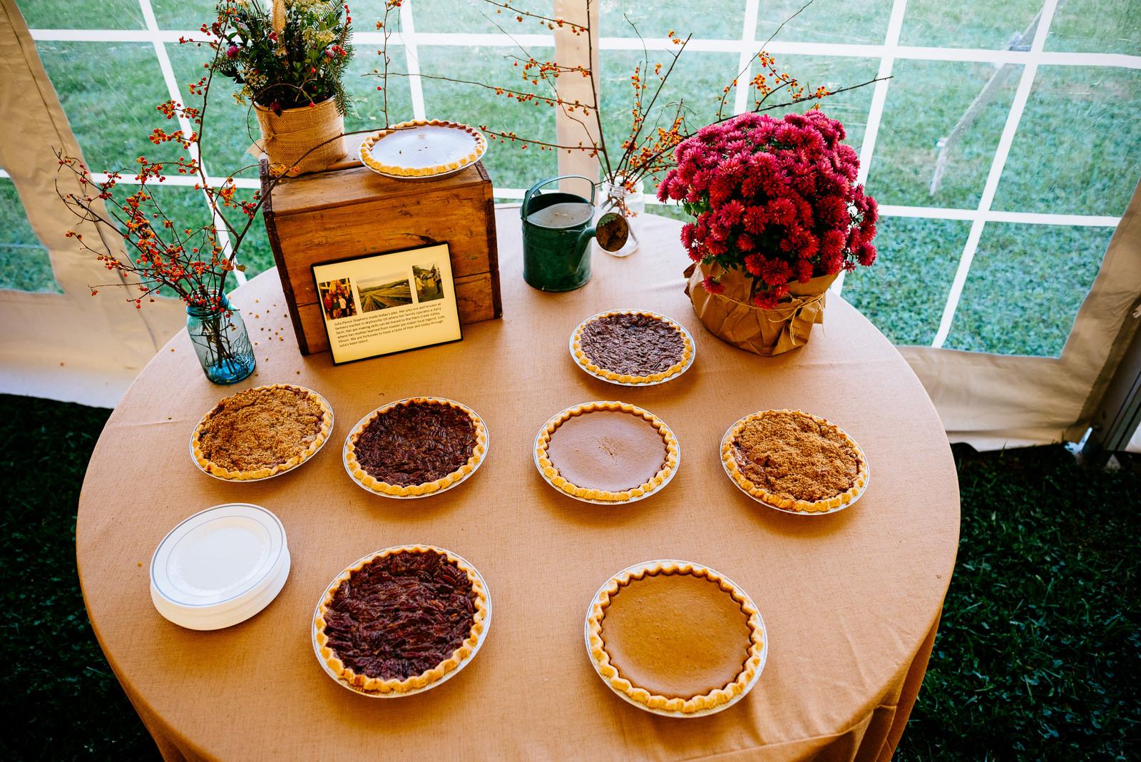 wv farm wedding pie table