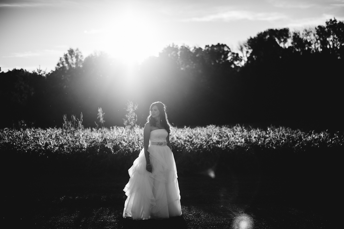 beautiful bridal portrait with sunflare