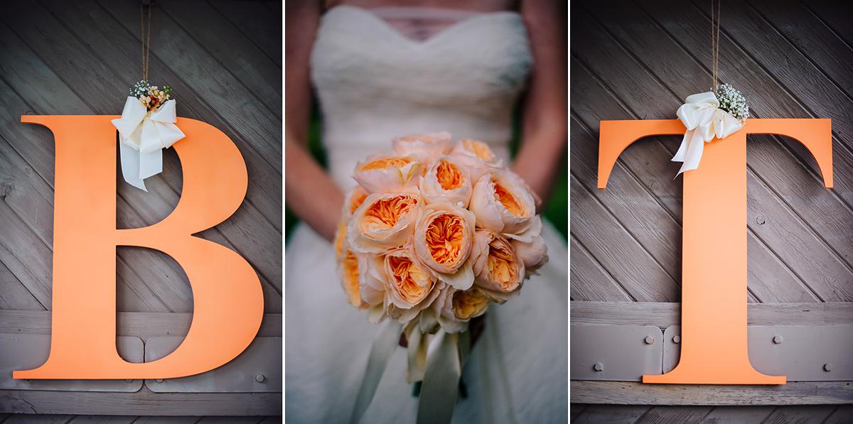 peach color wedding details peonies
