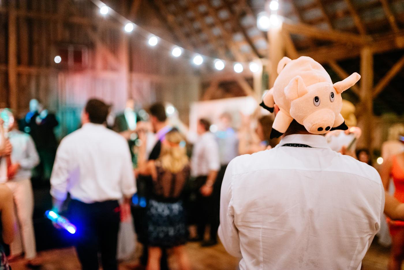 farm props at wedding reception