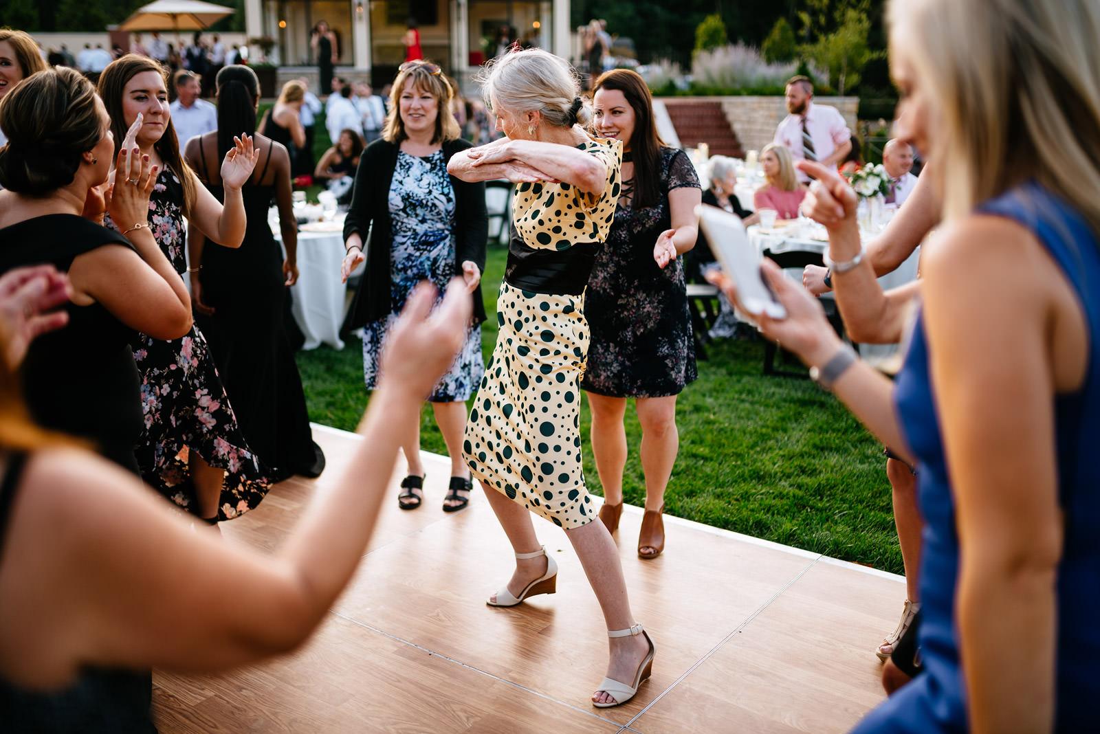 stylish old lady on dancefloor