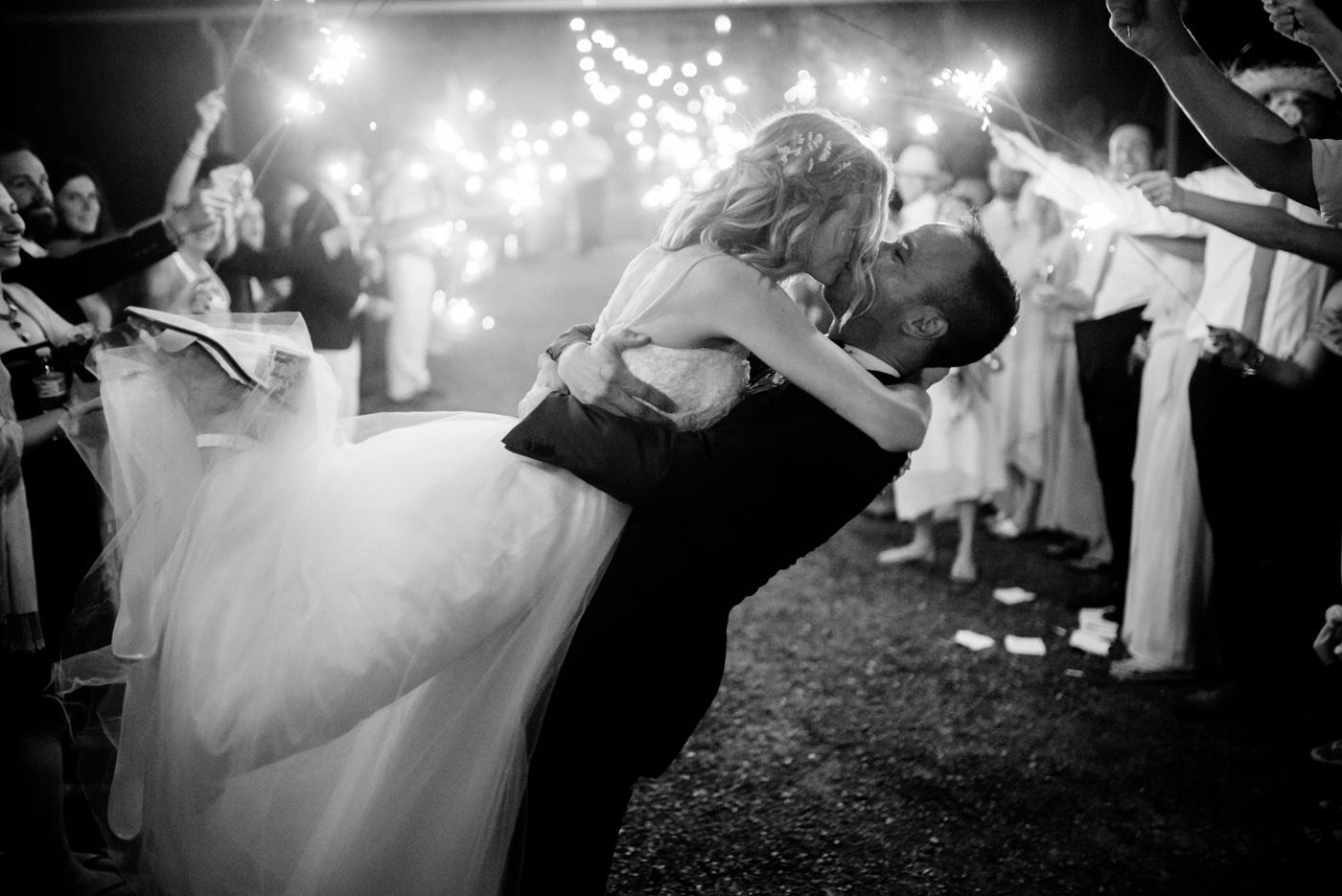 happy bride and groom sparkler exit valley view farm lewisburg