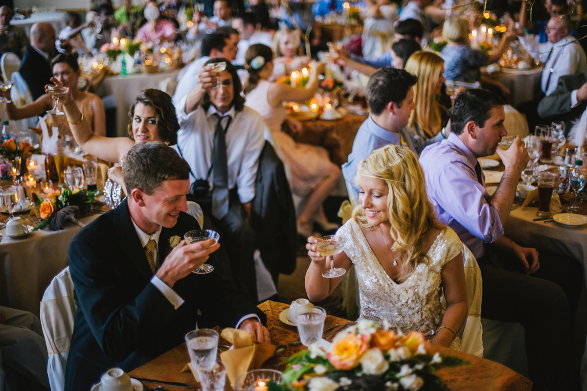 prohibition themed wedding with feathers and punch