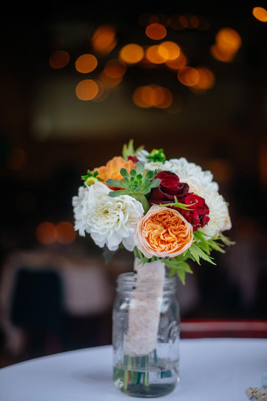 wedding details mason jar bouquet floral arrangement with maple tree trimmings1