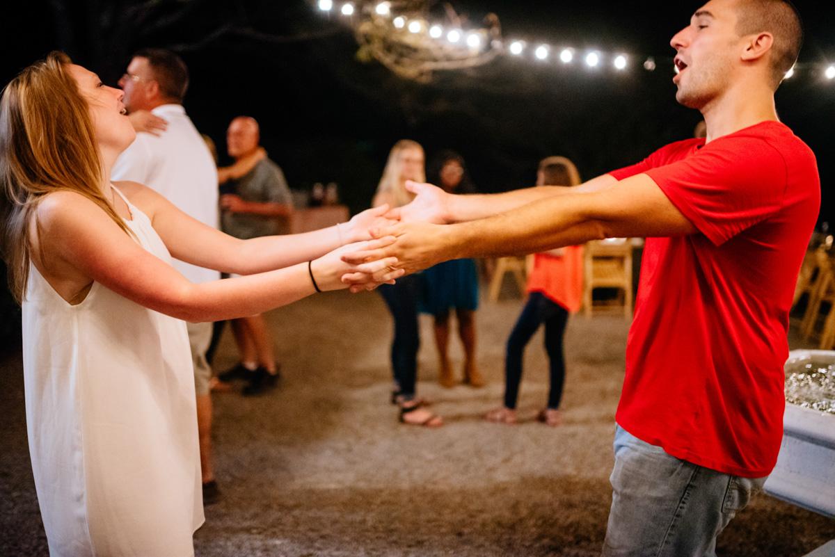 bride groom singing dancing jq dickinson saltworks wedding reception