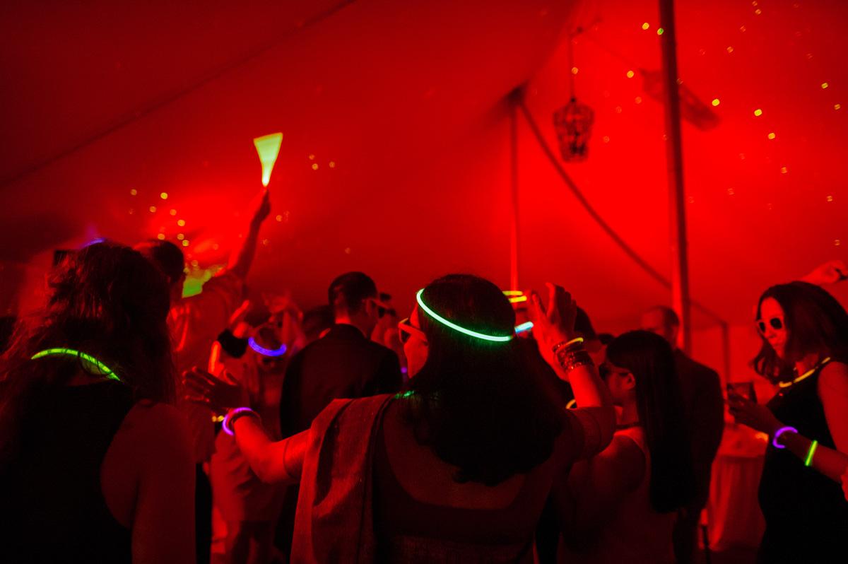 glow sticks at wedding reception