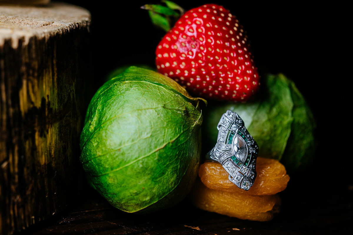 antique engagement ring with tomatillos