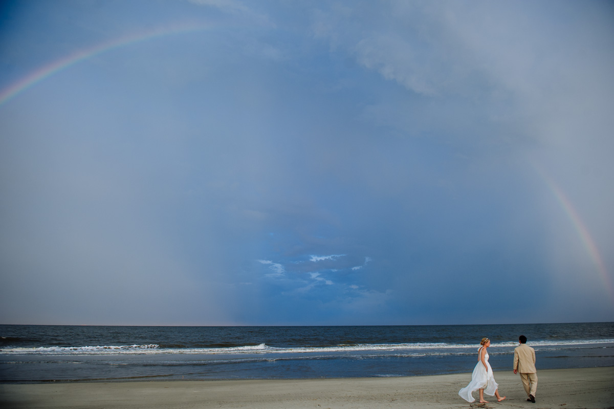 jekyll island wedding rainbow