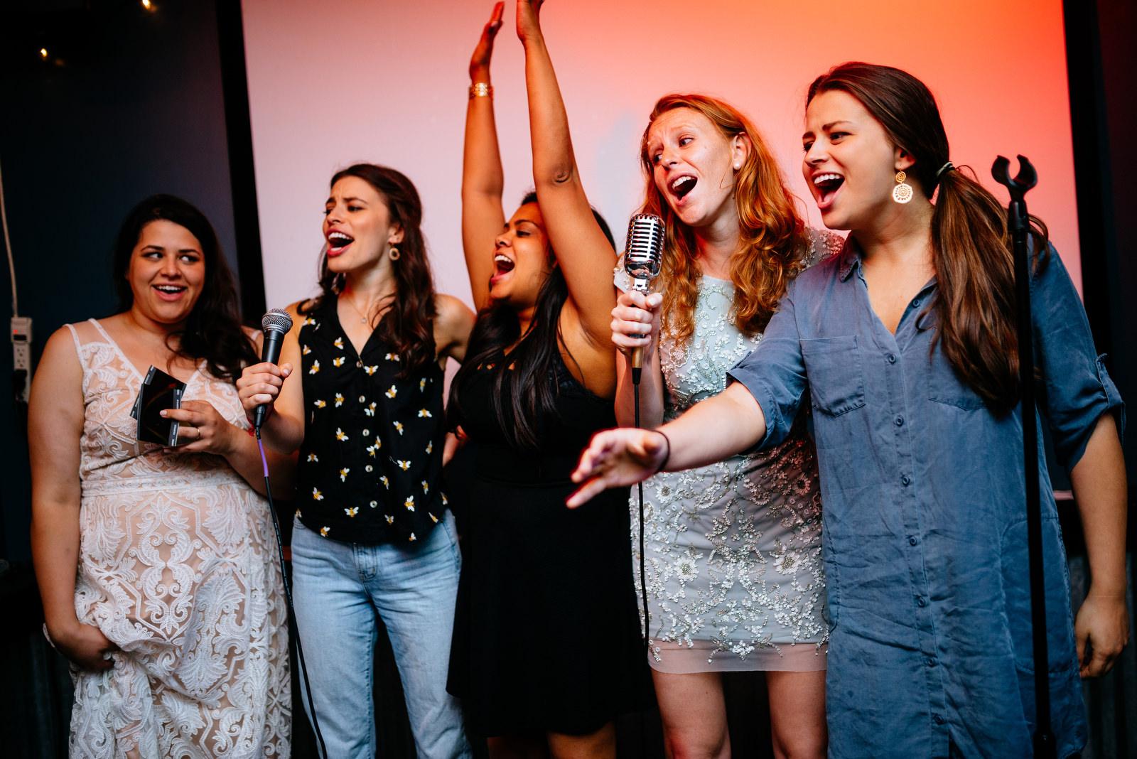 wedding afterparty karaoke best friends bar