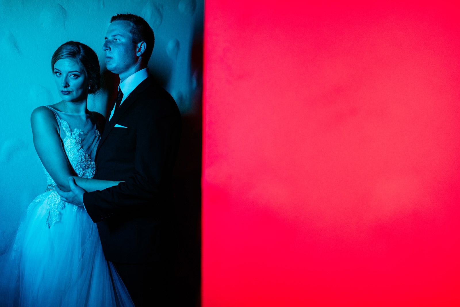 colorful cinematic bride groom portrait zenner house wedding