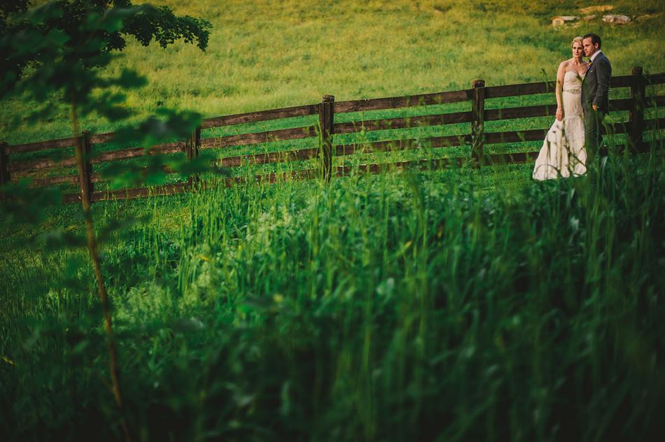 outdoor creative wedding photography field bride and groom portrait