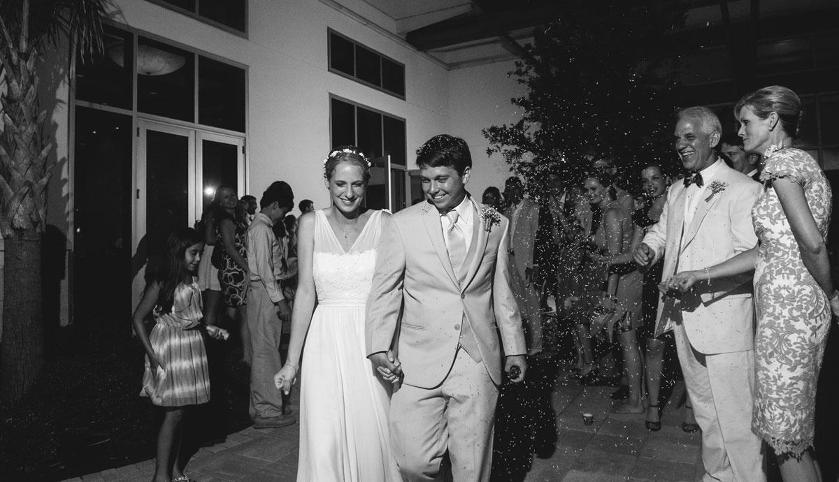 wedding reception exit at night with birdseed off camera flash