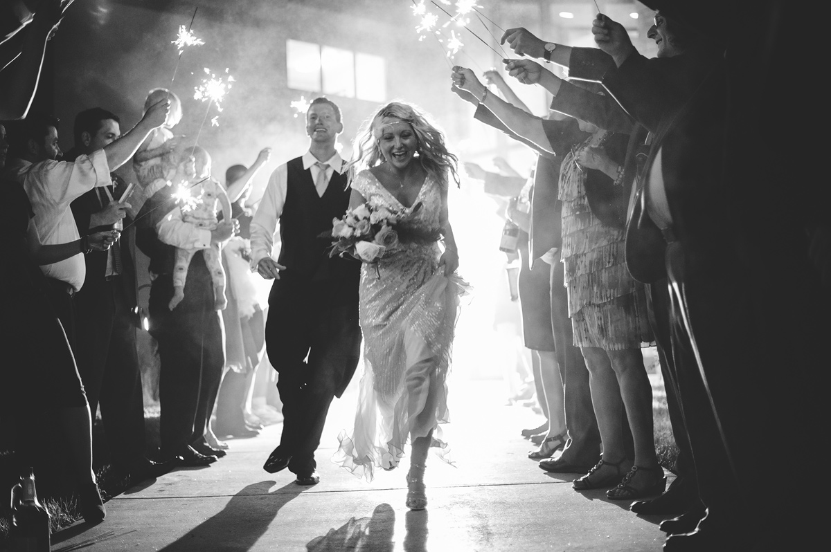 creative sparkler exit photo at a wedding