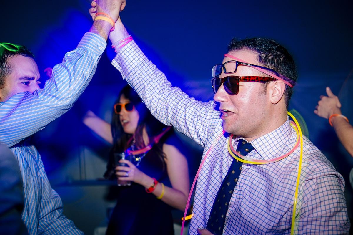 wedding reception dance party with glow sticks