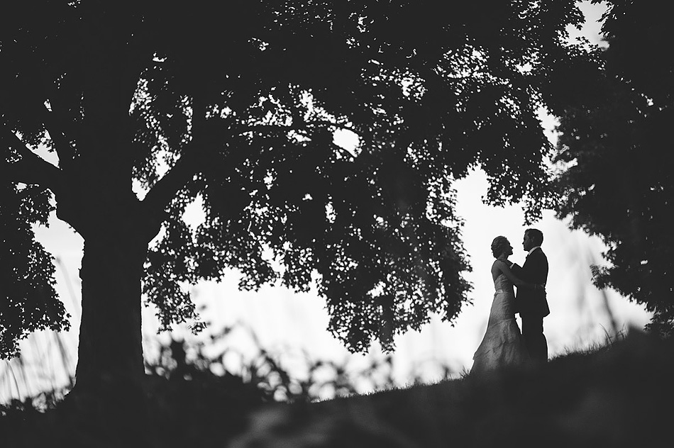 creative wedding photo silhouette at dusk black and white
