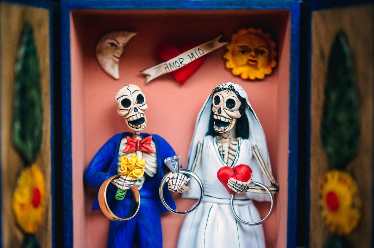 dia de muertos wedding ring shot