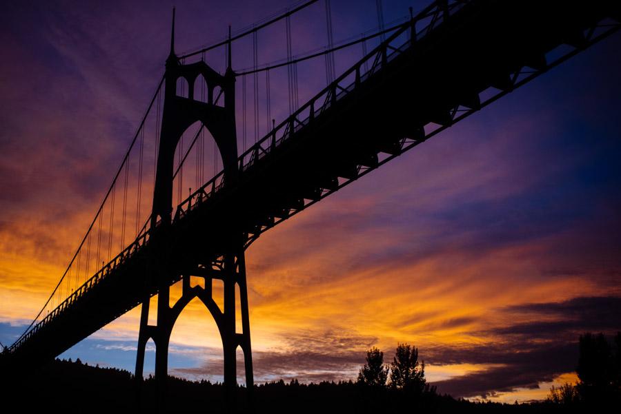 beautiful sunset cathedral bridge park portland oregon