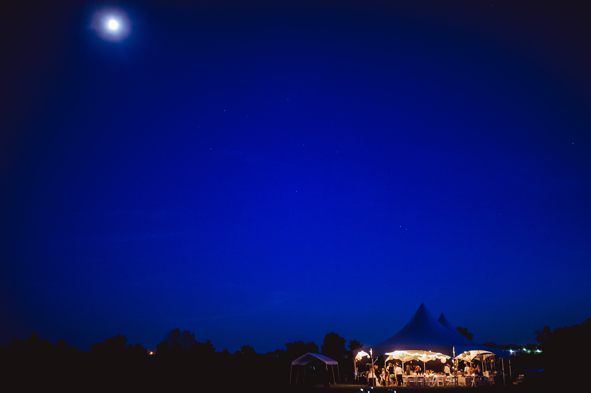 wedding reception tent and the moon