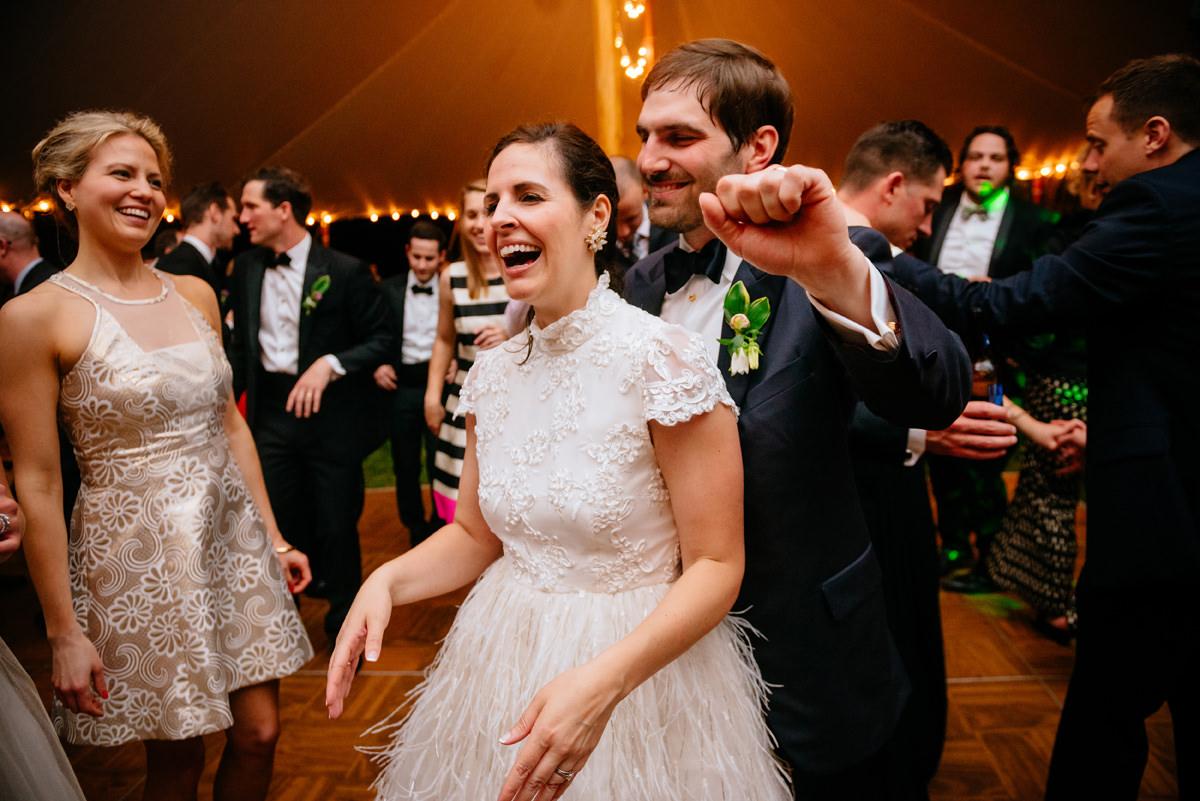happy bride and groom at wedding reception