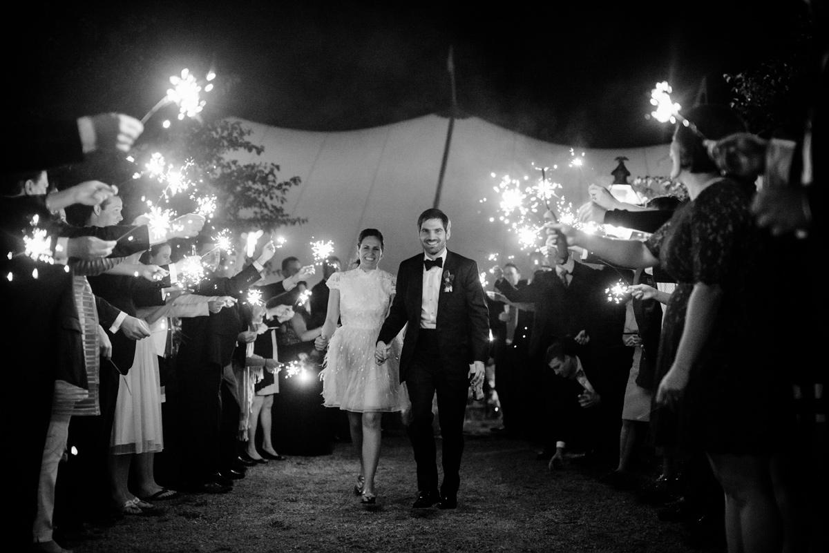 pharsalia virginia wedding reception sparkler exit