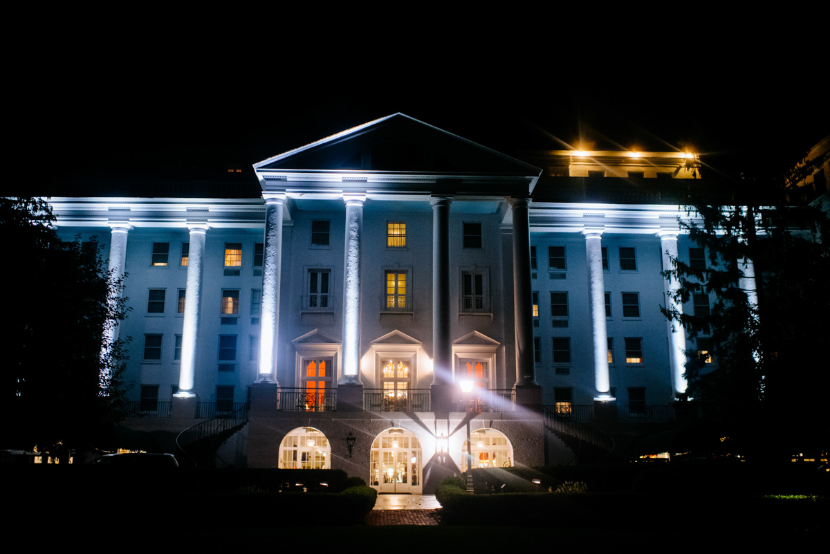 the greenbrier resort at night