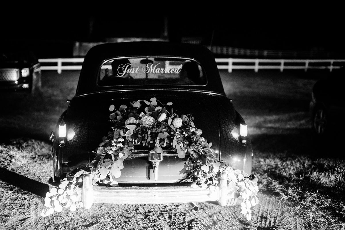 pharsalia virginia wedding just married antique car