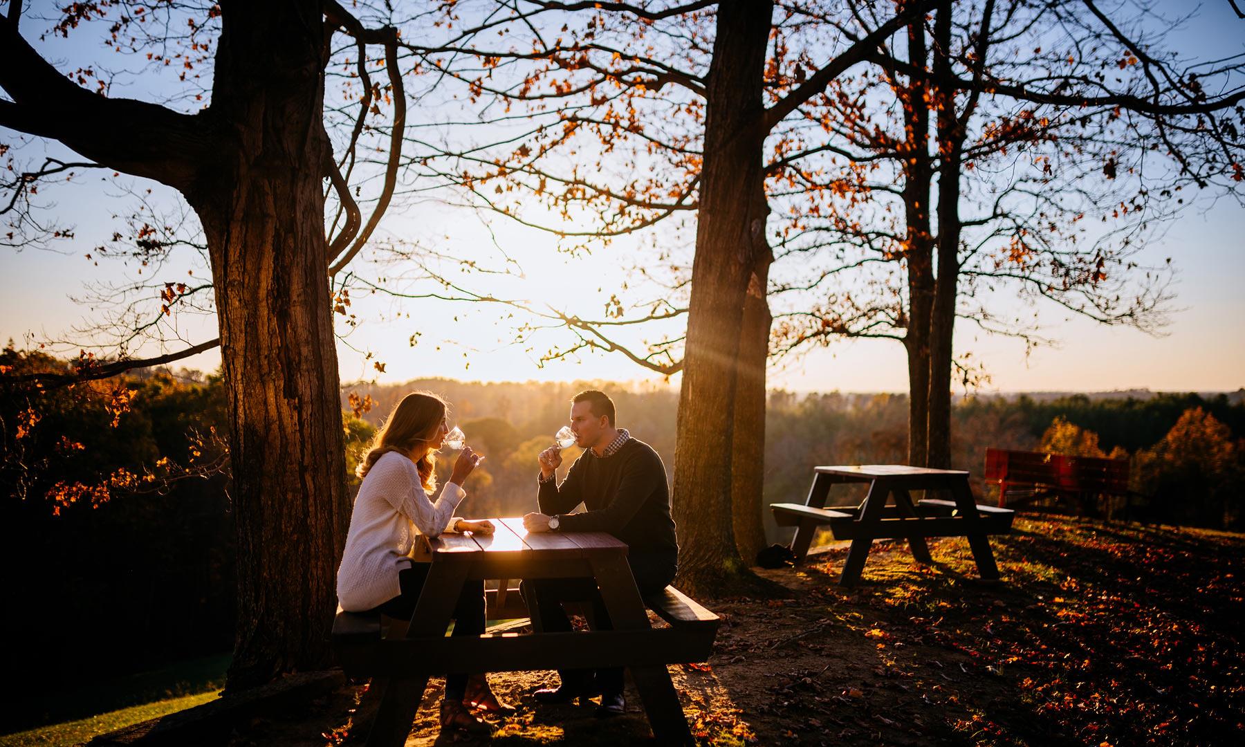 autumn engagement session with wine athens ohio charleston wv