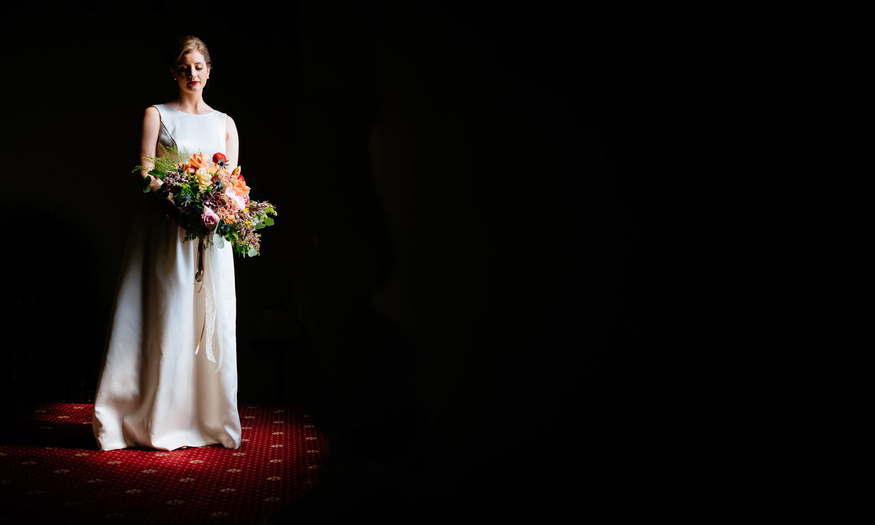 bridal portrait with negative space