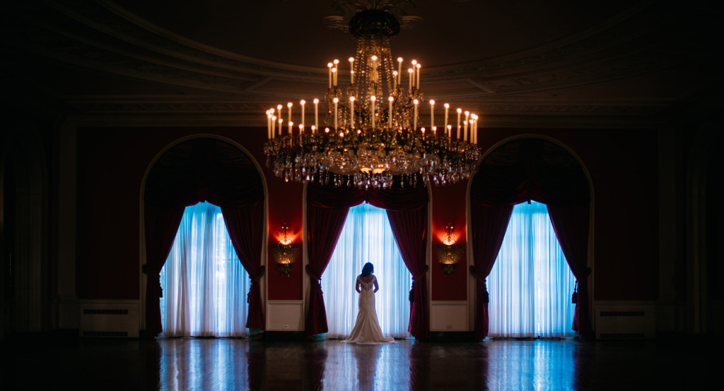 bride in the cameo ballroom at the greenbrier resort