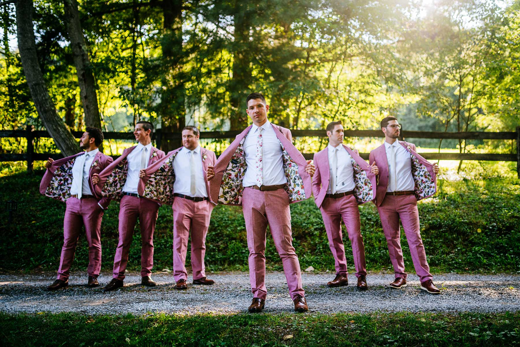 groomsmen floral lining suits