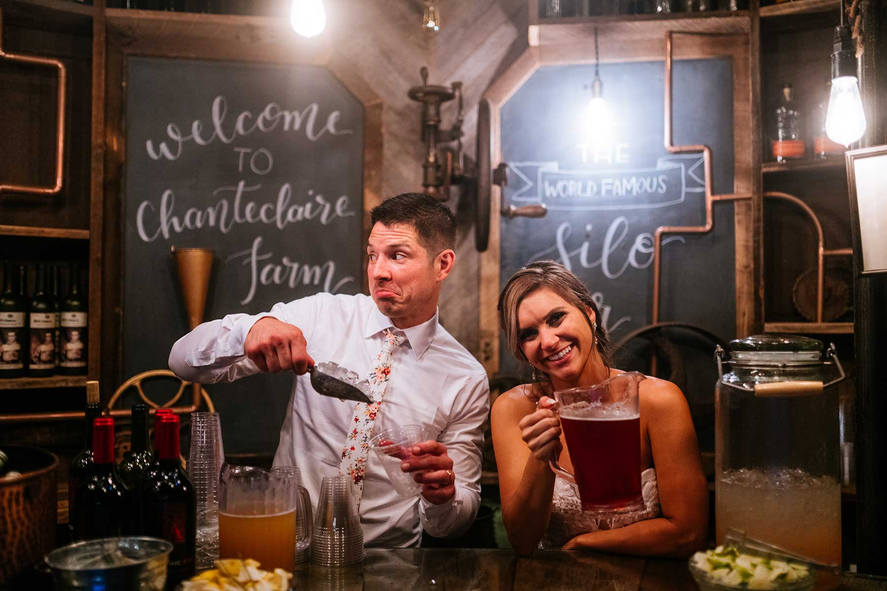 chanteclaire farm silo bar wedding portrait