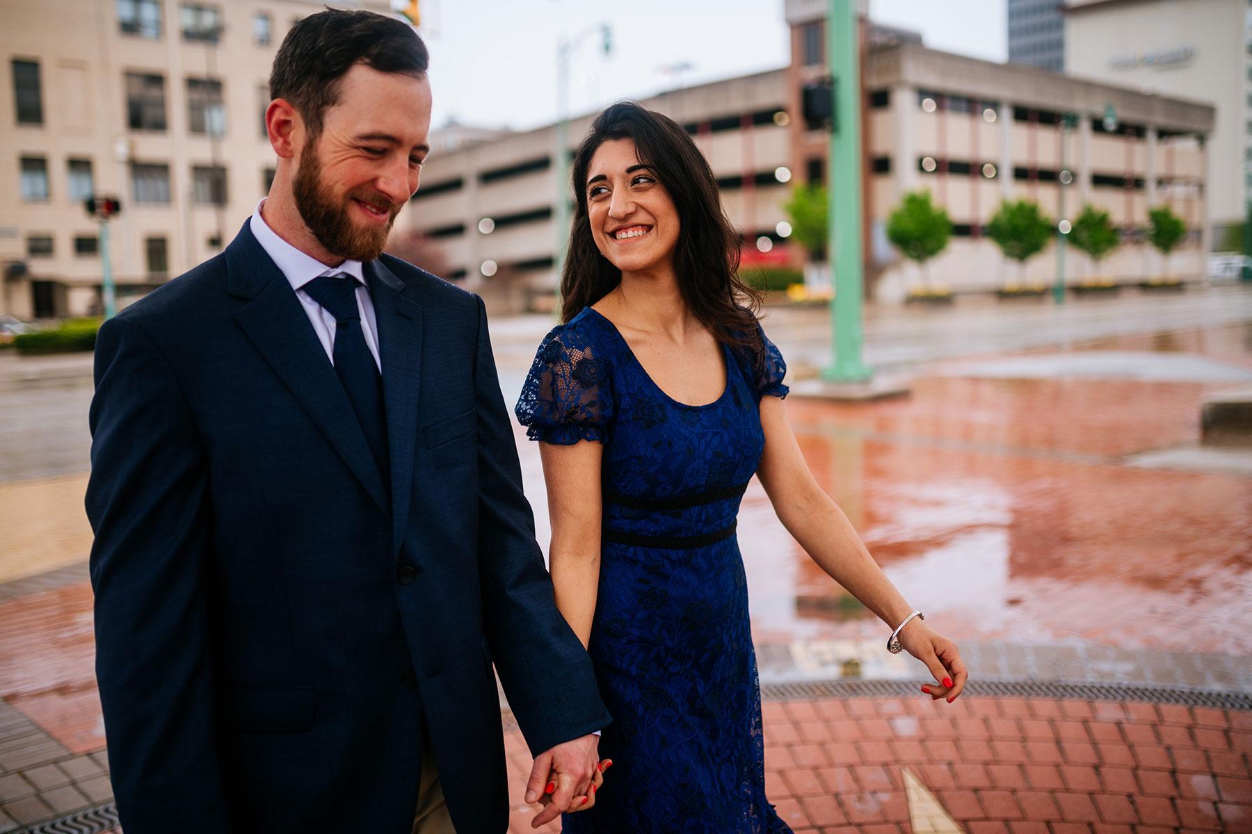 bride and groom walking downtown charleston wv