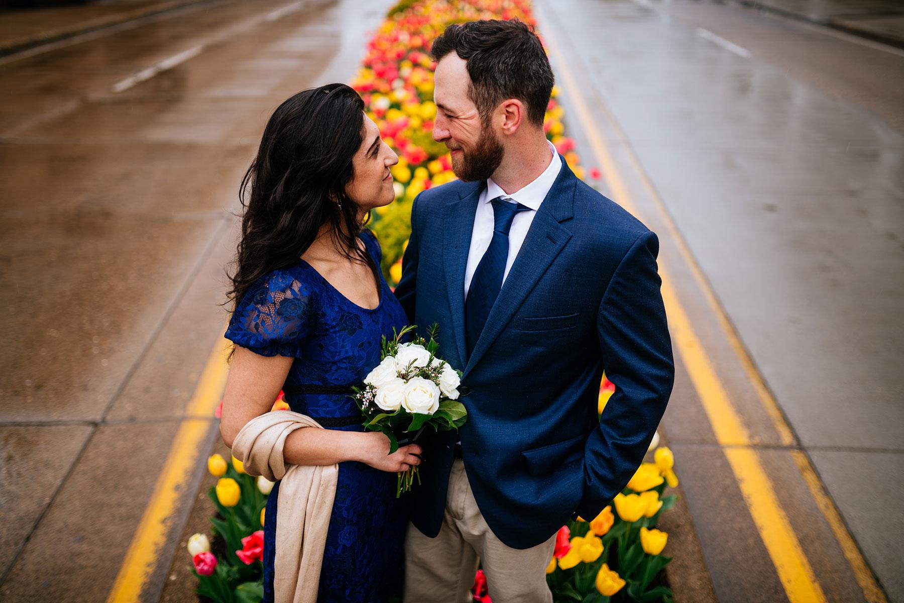 wedding portrait in flowers