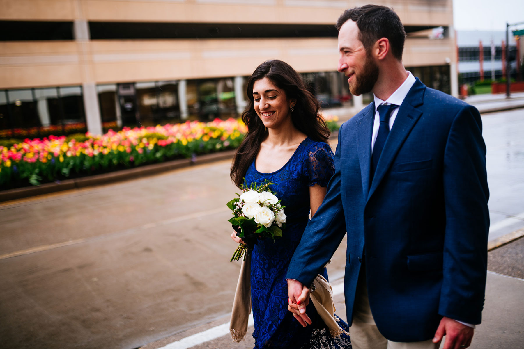 couple walking after wedding